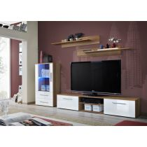 "Meuble TV Design ""Galino VIII"" 250cm Prunier & Blanc"