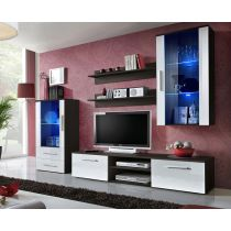 "Meuble TV Design ""Galino X"" 250cm Wengé & Blanc"