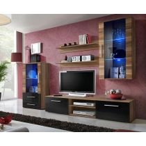 "Meuble TV Design ""Galino X"" 250cm Prunier & Noir"
