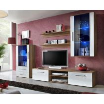 "Meuble TV Design ""Galino X"" 250cm Prunier & Blanc"