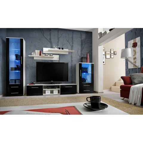"Meuble TV Design ""Galino IX"" 320cm Blanc & Noir"