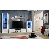 "Meuble TV Design ""Galino IX"" 320cm Blanc Brillant"