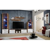 "Meuble TV Design ""Galino IX"" 320cm Prunier & Blanc"