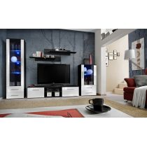 "Meuble TV Design ""Galino IX"" 320cm Noir & Blanc"