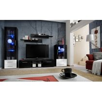"Meuble TV Design ""Galino IX"" 250cm Noir & Tiroirs Blancs"