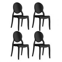 "Lot de 4 Chaises Design ""Beauty"" 89cm Noir"