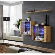 "Lot de 2 Vitrines Murales & Étagère ""Switch SBIII"" 130cm Naturel"