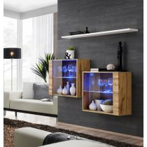 "Lot de 2 Vitrines Murales & Étagère ""Switch SBIII"" 130cm Naturel & Blanc"