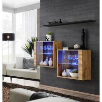 "Lot de 2 Vitrines Murales & Étagère ""Switch SBIII"" 130cm Naturel & Noir"