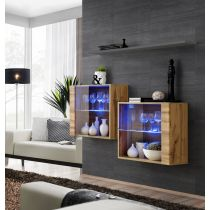 "Lot de 2 Vitrines Murales & Étagère ""Switch SBIII"" 130cm Naturel & Gris"