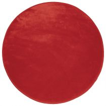 "Tapis Velours Rond ""Louna"" 90cm Rouge"