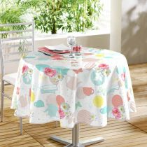 "Nappe Ronde Toile Cirée ""Tea Party"" 160cm Multicolore"