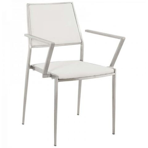 Chaise Design Inox Blanc