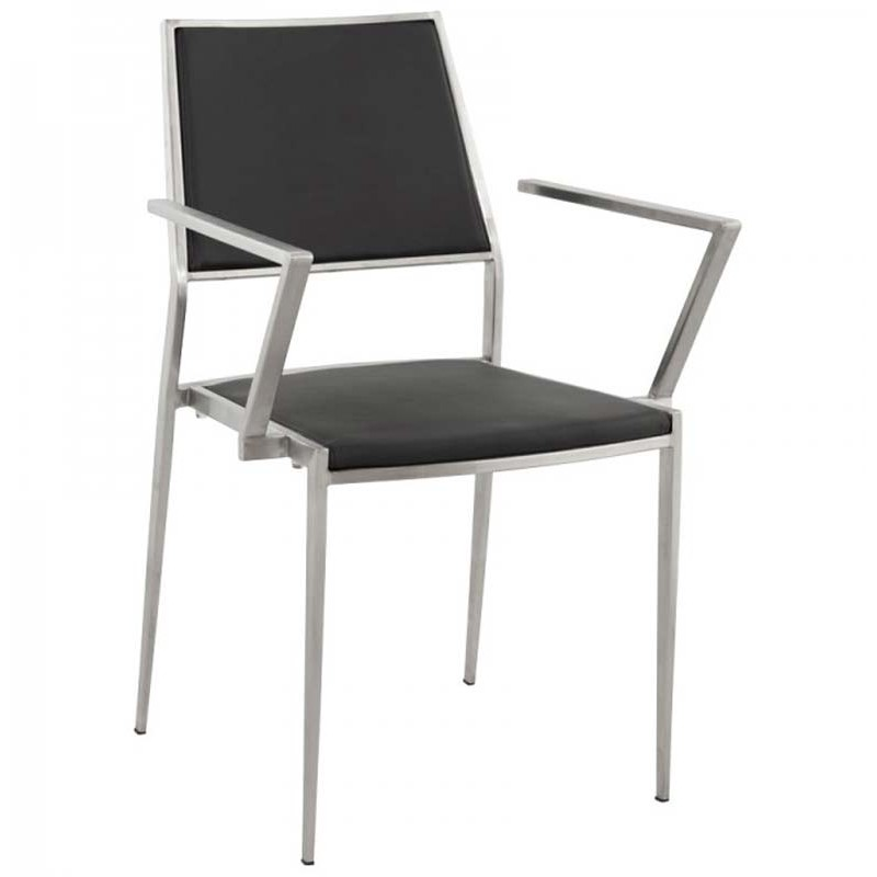 Chaise design inox noir for Chaise noir design