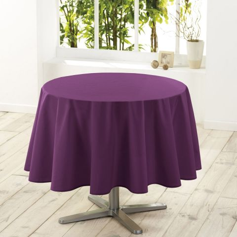 "Nappe Ronde Antitache ""Essentiel"" 180cm Prune"