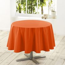 "Nappe Ronde Antitache ""Essentiel"" 180cm Orange Brique"