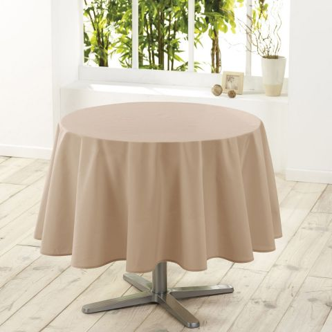 "Nappe Ronde Antitache ""Essentiel"" 180cm Lin"