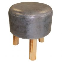 "Tabouret Rond ""Lord"" 36cm Anthracite"