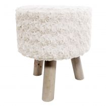 "Tabouret Imitation Fourrure ""Himalaya"" 36cm Naturel"