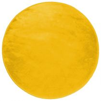 "Tapis Velours Rond ""Louna"" 90cm Moutarde"