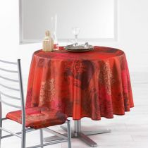 "Nappe Ronde Antitache ""Roxane"" 180cm Rouge"