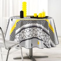 "Nappe Ronde Antitache ""Yellow Mix"" 180cm Multicolore"