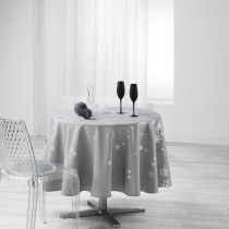 "Nappe Ronde Antitache ""Constellation"" 180cm Gris"