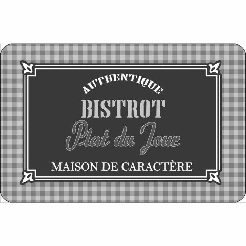 "Set de Table Bistrot ""Plat du Jour"" 28x44cm Gris"