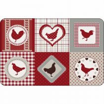 "Set de Table Poules ""Patch Cocotte"" 28x44cm Rouge"