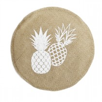 "Set de Table Jute Rond ""Ananas Spirit"" 38cm Naturel"