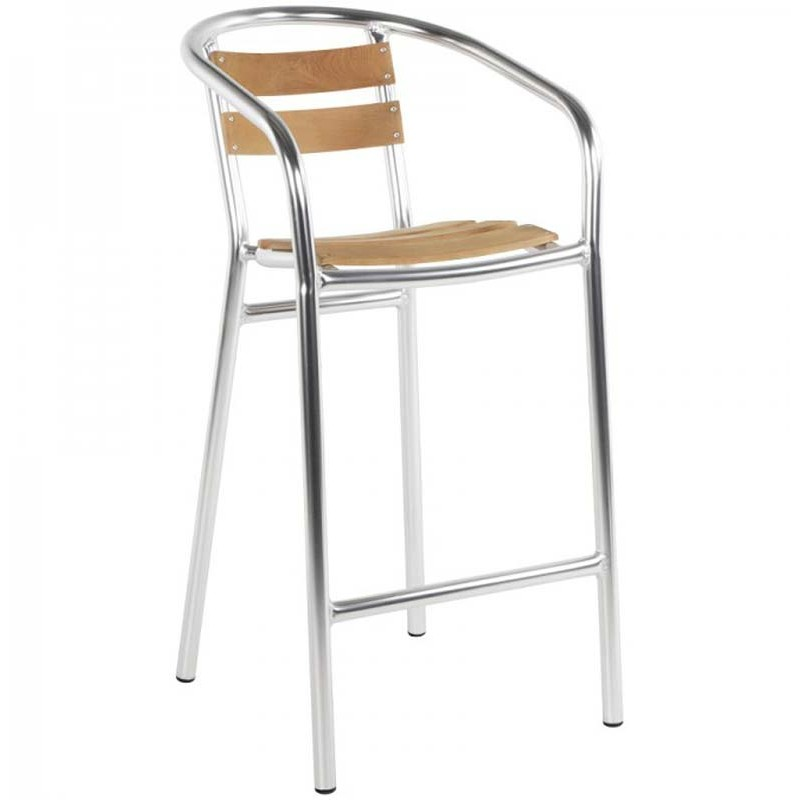 Tabouret de bar aluminium et bois for Chaise et tabouret de bar