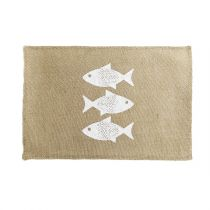 "Set de Table Jute ""Fishy"" 30x45cm Naturel"