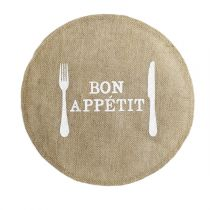 "Set de Table Jute Rond ""Appetito"" 38cm Naturel"