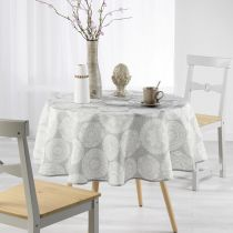 "Nappe Ronde Antitache ""Anais"" 180cm Naturel"