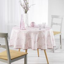 "Nappe Ronde Antitache ""Anais"" 180cm Rose"