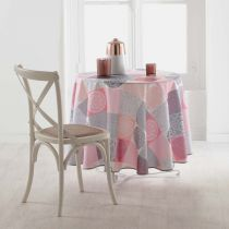 "Nappe Ronde Antitache ""Mantra"" 180cm Rose"