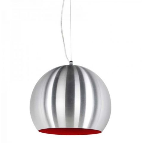 "Lampe Suspension ""Bulbo"" Chrome & Rouge"