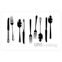 "Set de Table ""Love Cooking"" 28x44cm Blanc & Noir"