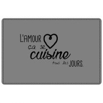 "Set de Table ""Cuisine Amour"" 28x43cm Gris"