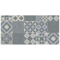 "Tapis Rectangle Vinyle ""Marbella"" 50x100cm Bleu"