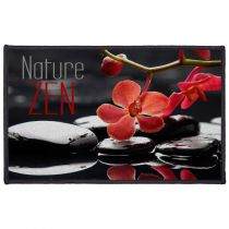 "Tapis Déco Rectangle ""Reflet"" 50x80cm Noir & Rouge"