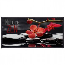 "Tapis Déco Rectangle ""Reflet"" 57x115cm Noir & Rouge"