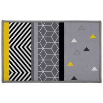 "Tapis Déco ""Yellow Mix"" 50x80cm Gris"
