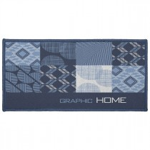 "Tapis Déco Rectangle ""Dalea"" 57x115cm Bleu"