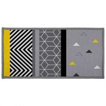 "Tapis Déco ""Yellow Mix"" 57x115cm Gris"