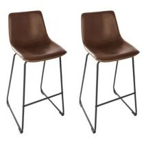 "Lot de 2 Tabourets de Bar ""Gardanio"" 101cm Marron"