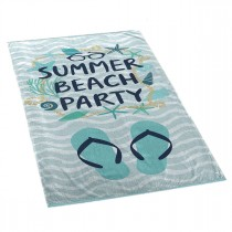 "Serviette de Plage ""Beach Party"" 70x150cm Bleu"