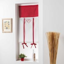 "Store Voilage Brodé ""Home Love"" 60x150cm Rouge"