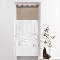 """Store Voilage """"Duo"""" 60x180cm Blanc & Taupe"""
