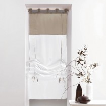 """Store Voilage """"Duo"""" 45x180cm Blanc & Taupe"""